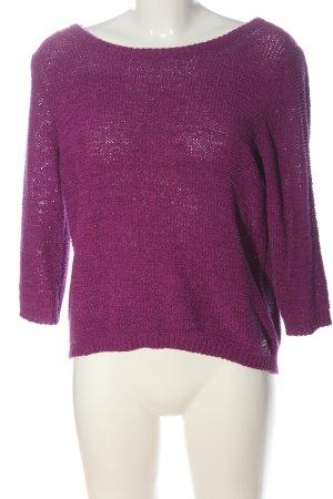 Tom Tailor Denim Szydełkowany sweter różowy Wzór w paski W stylu casual