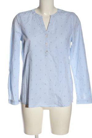 Tom Tailor Denim Hemd-Bluse weiß-blau Allover-Druck Casual-Look