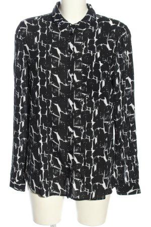 Tom Tailor Denim Hemd-Bluse schwarz-weiß Allover-Druck Casual-Look