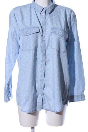 Tom Tailor Denim Jeanshemd blau-weiß Punktemuster Casual-Look