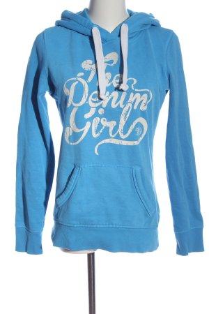 Tom Tailor Denim Kapuzensweatshirt blau-weiß Motivdruck Casual-Look