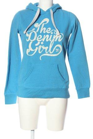 Tom Tailor Denim Kapuzensweatshirt blau Schriftzug gedruckt Casual-Look