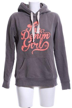Tom Tailor Denim Kapuzensweatshirt hellgrau-pink Schriftzug gedruckt Casual-Look