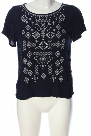 Tom Tailor Denim Short Sleeved Blouse blue-white graphic pattern casual look