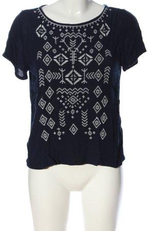 Tom Tailor Denim Kurzarm-Bluse blau-weiß grafisches Muster Casual-Look
