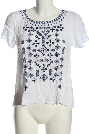 Tom Tailor Denim Kurzarm-Bluse weiß-blau grafisches Muster Casual-Look