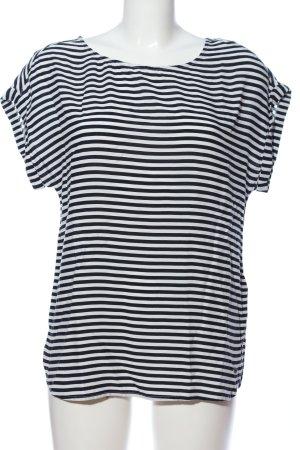 Tom Tailor Denim Kurzarm-Bluse schwarz-weiß Allover-Druck Casual-Look
