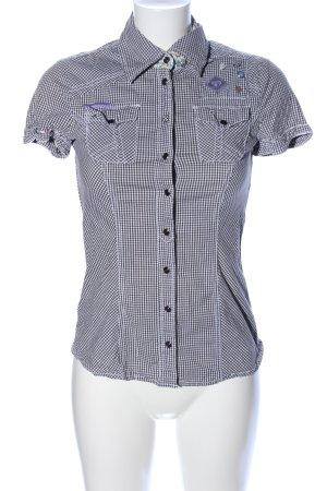 Tom Tailor Denim Kurzarm-Bluse schwarz-weiß Karomuster Casual-Look
