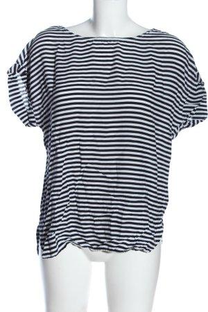Tom Tailor Denim Kurzarm-Bluse schwarz-weiß Streifenmuster Casual-Look