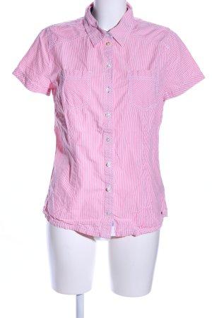 Tom Tailor Denim Kurzarmhemd pink-weiß Streifenmuster Business-Look