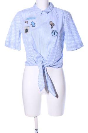 Tom Tailor Denim Short Sleeve Shirt blue-white striped pattern casual look