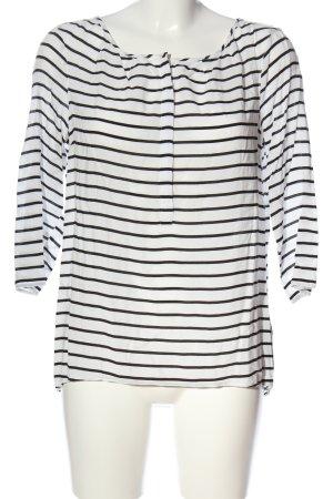Tom Tailor Denim Langarm-Bluse weiß-schwarz Streifenmuster Casual-Look
