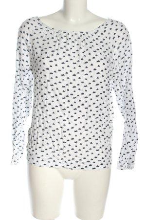 Tom Tailor Denim Langarm-Bluse weiß-schwarz Allover-Druck Casual-Look