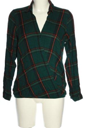 Tom Tailor Denim Langarm-Bluse grün-hellorange Allover-Druck Business-Look