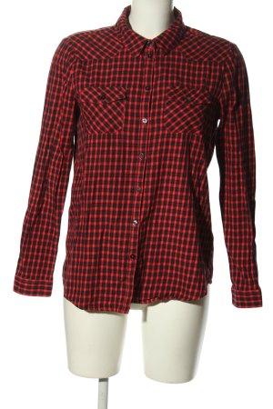 Tom Tailor Denim Langarmhemd rot-schwarz Karomuster Casual-Look