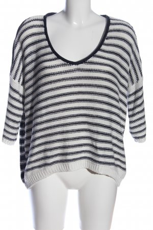 Tom Tailor Denim Oversized Pullover weiß-schwarz Streifenmuster Casual-Look