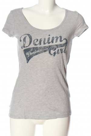 Tom Tailor Denim Print-Shirt hellgrau meliert Casual-Look