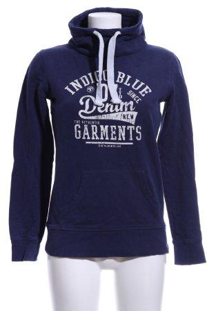 Tom Tailor Denim Rollkragenpullover blau-weiß Schriftzug gedruckt Casual-Look
