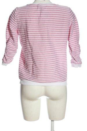 Tom Tailor Denim Rundhalspullover pink-weiß Allover-Druck Casual-Look