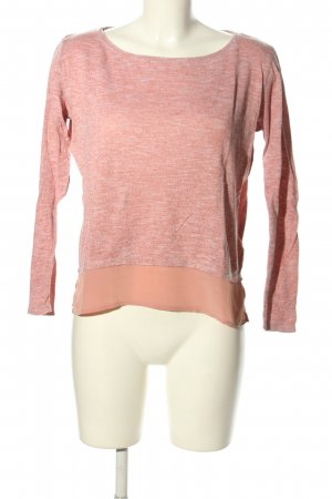 Tom Tailor Denim Rundhalspullover pink-weiß meliert Casual-Look