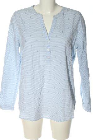 Tom Tailor Denim Schlupf-Bluse blau-weiß Allover-Druck Business-Look