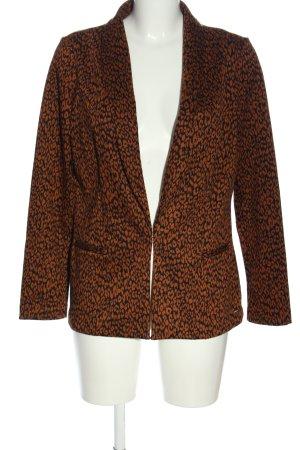 Tom Tailor Denim Gebreide blazer bruin-zwart luipaardprint casual uitstraling