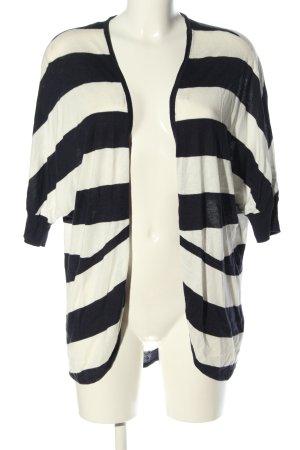 Tom Tailor Denim Strick Cardigan weiß-schwarz Streifenmuster Casual-Look