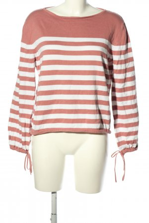 Tom Tailor Denim Strickpullover pink-weiß Streifenmuster Casual-Look