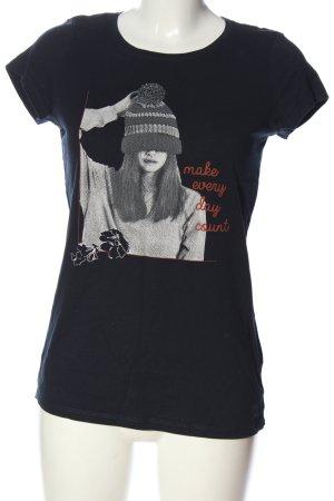 Tom Tailor Denim Print-Shirt schwarz Motivdruck Casual-Look