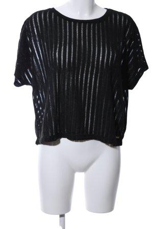 Tom Tailor Denim Strickshirt schwarz Streifenmuster Casual-Look