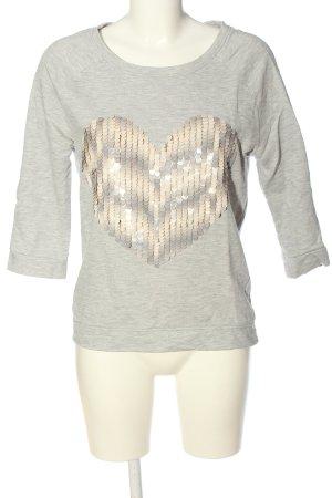 Tom Tailor Denim Sweatshirt hellgrau Motivdruck Casual-Look