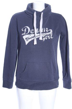Tom Tailor Denim Sweatshirt blau-weiß Schriftzug gedruckt Casual-Look