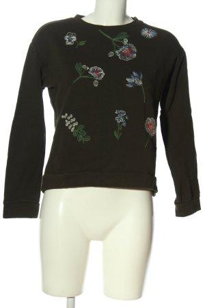 Tom Tailor Denim Sweatshirt khaki Schriftzug gestickt Casual-Look
