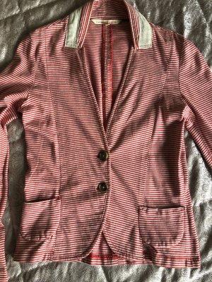 Tom Tailor denim Sweatshirt S 36 rot Weiß beige gestreift Blazer Jacke