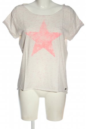 Tom Tailor Denim T-Shirt natural white-pink flecked casual look