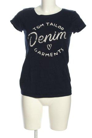 Tom Tailor Denim T-Shirt blau-weiß Schriftzug gedruckt Casual-Look