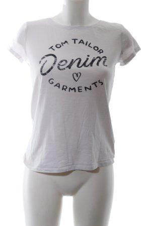 Tom Tailor Denim T-Shirt weiß-schwarz Motivdruck Casual-Look