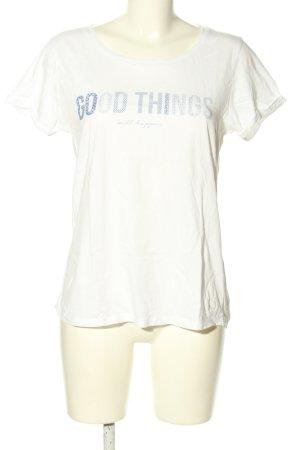 Tom Tailor Denim T-Shirt weiß-blau Schriftzug gedruckt Casual-Look