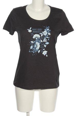 Tom Tailor Denim T-Shirt schwarz-blau Motivdruck Casual-Look