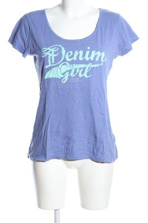 Tom Tailor Denim T-Shirt blau-türkis Schriftzug gedruckt Casual-Look