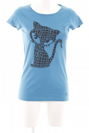 Tom Tailor Denim T-Shirt blau-schwarz Motivdruck Casual-Look