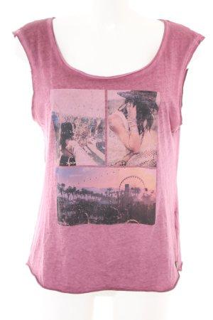 Tom Tailor Denim T-Shirt pink-schwarz abstraktes Muster Casual-Look