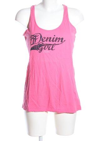 Tom Tailor Denim Trägertop pink Schriftzug gedruckt Casual-Look