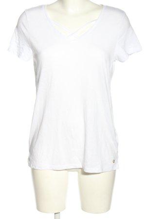 Tom Tailor Denim V-Ausschnitt-Shirt weiß Casual-Look