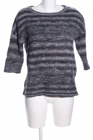 Tom Tailor Crochet Sweater light grey-black striped pattern casual look