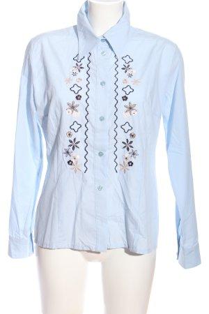 Tom Tailor Hemd-Bluse blau-wollweiß Blumenmuster Business-Look
