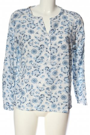 Tom Tailor Hemd-Bluse weiß-blau Allover-Druck Casual-Look