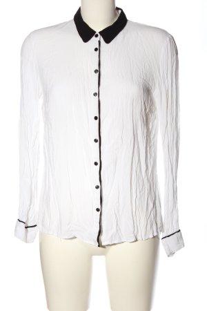 Tom Tailor Hemd-Bluse weiß-schwarz Casual-Look