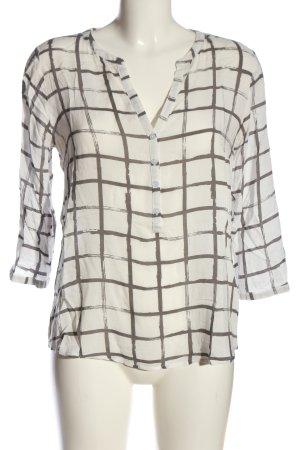 Tom Tailor Hemd-Bluse weiß-schwarz Allover-Druck Business-Look