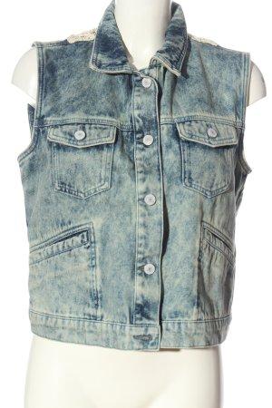 Tom Tailor Gilet en jean bleu-blanc style décontracté